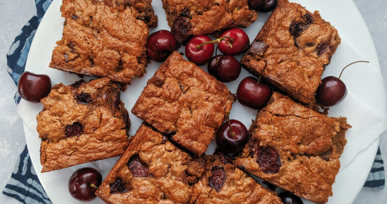 Almond Butter Cherry Blondies