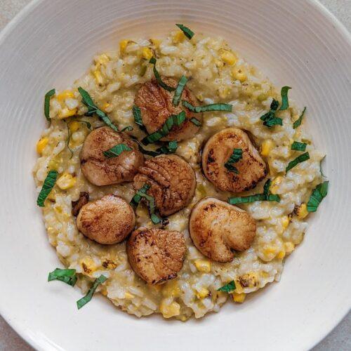 Corn Risotto and Scallops