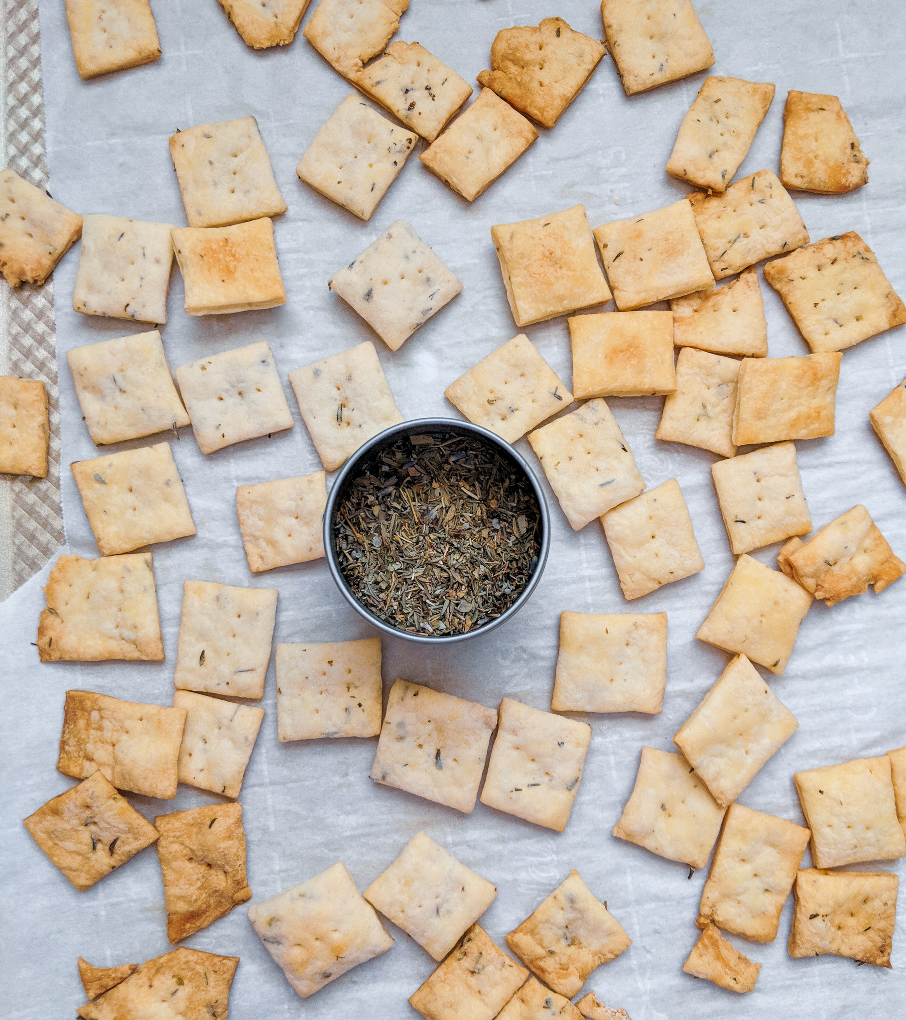 Sourdough Herby Crackers