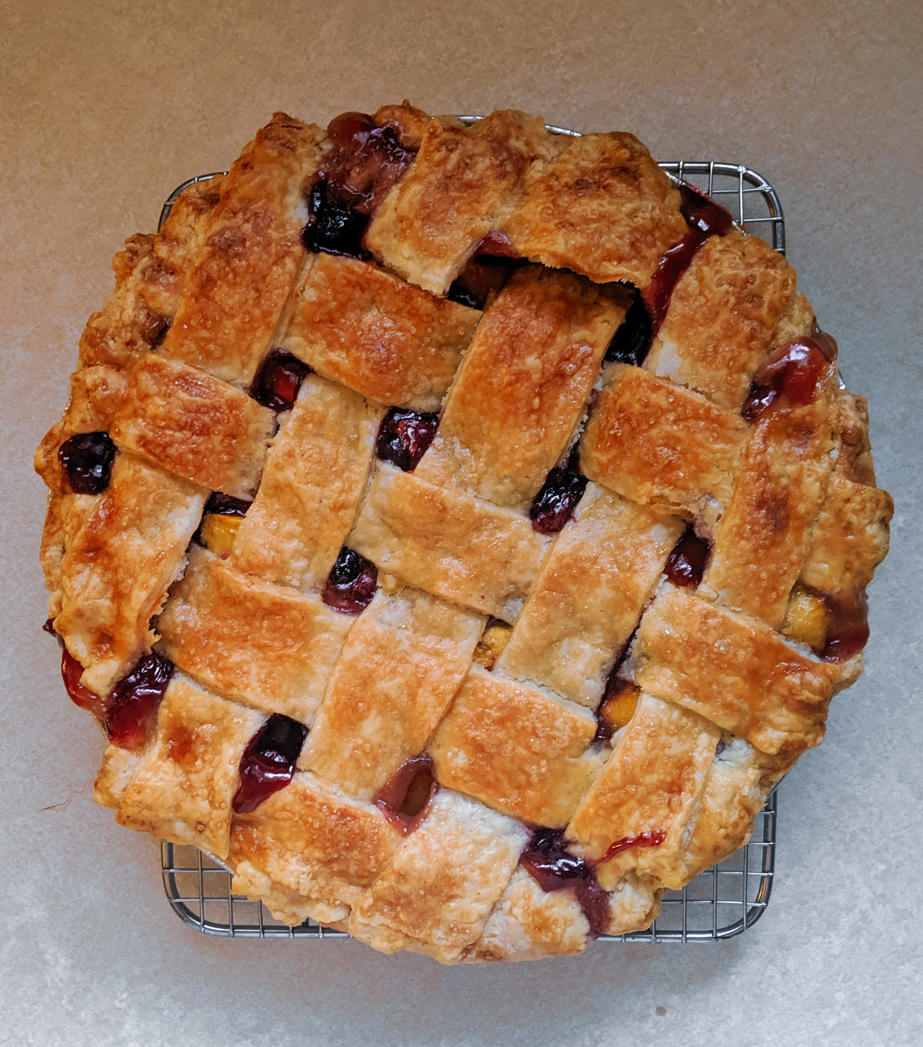 Sourdough Pie Crust with a Bourbon Peach Blueberry Filling