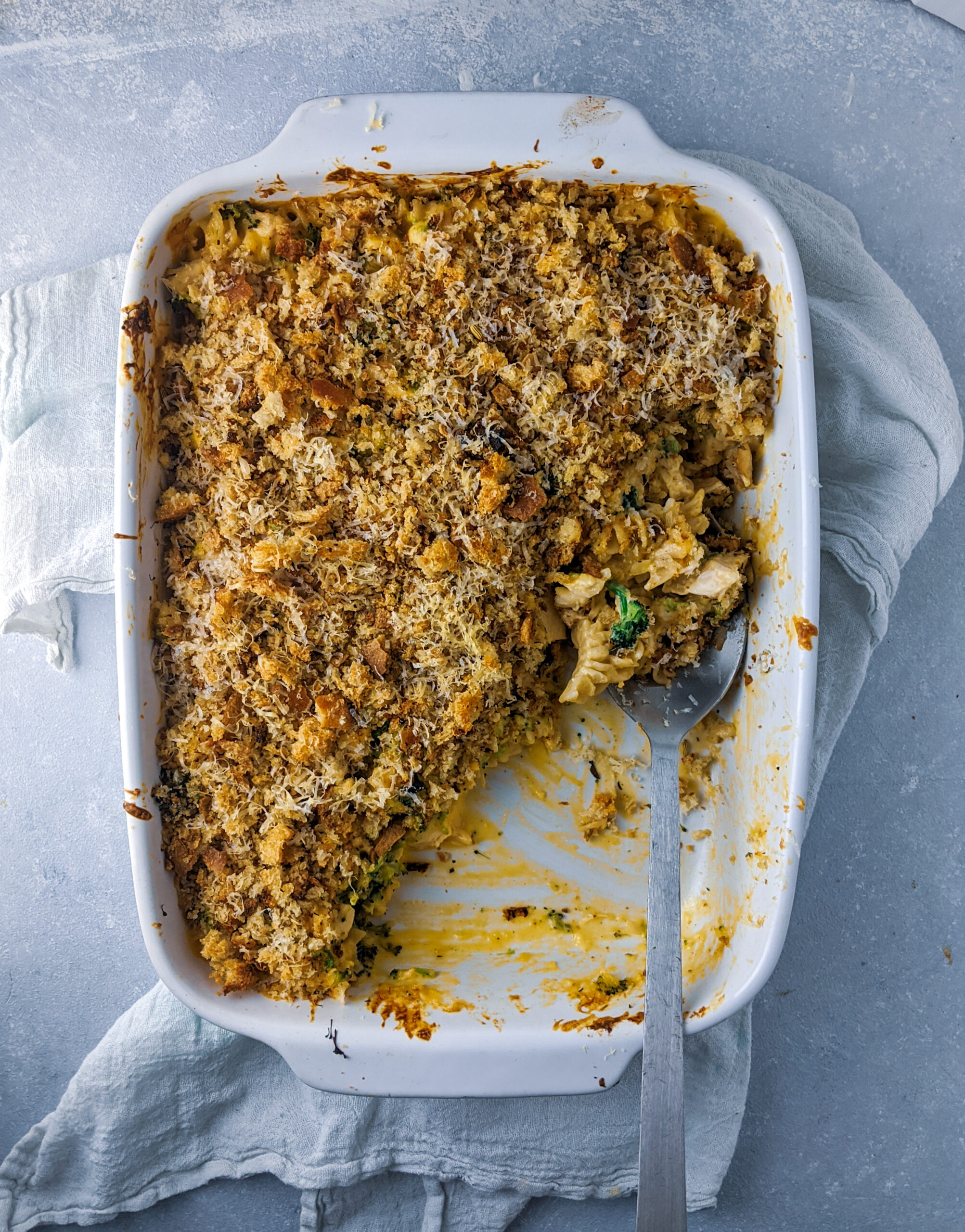 Baked Chicken and Broccoli Mac-n-Cheese with Sourdough Breadcrumbs